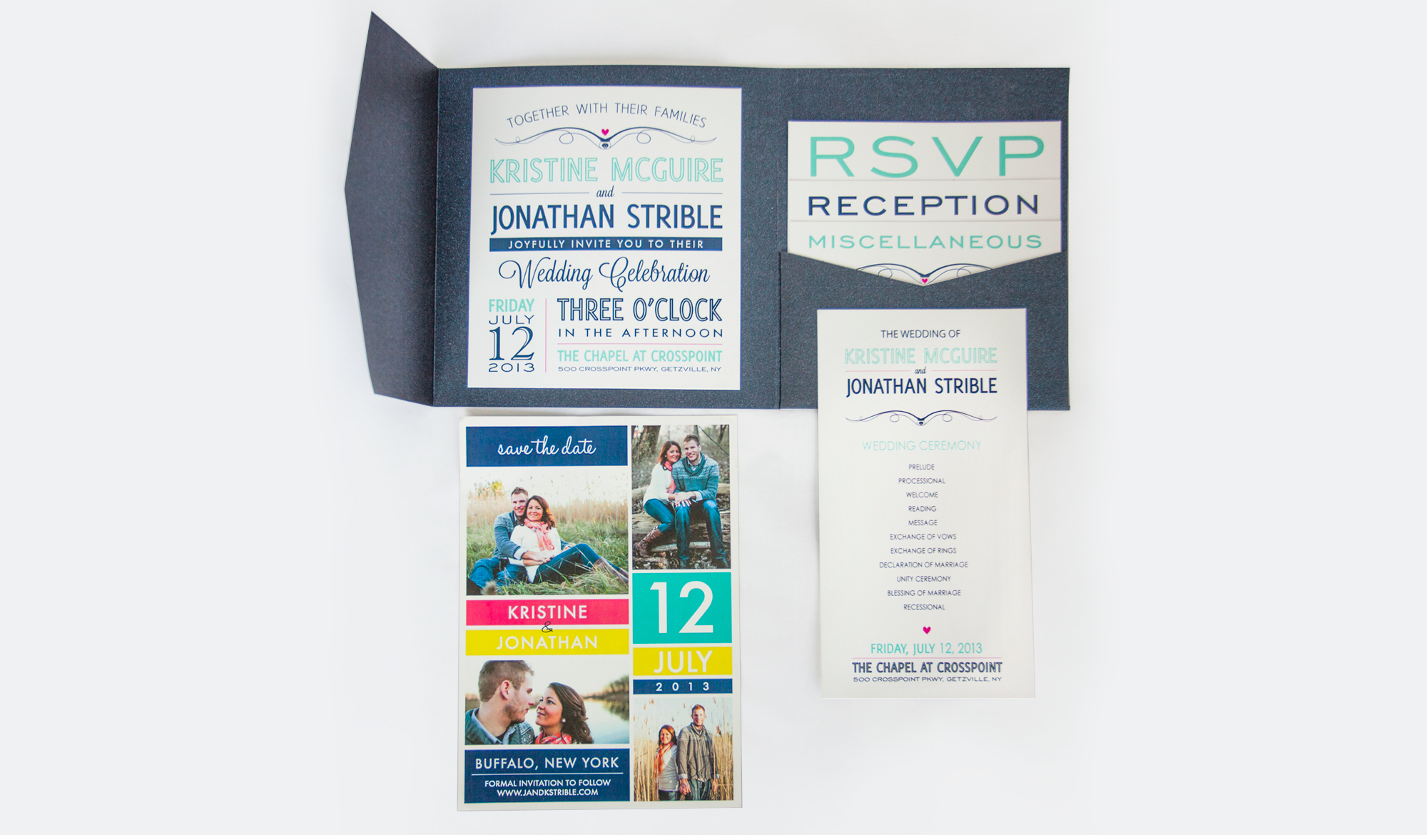 Wedding Invitation with Save the Date and Program
