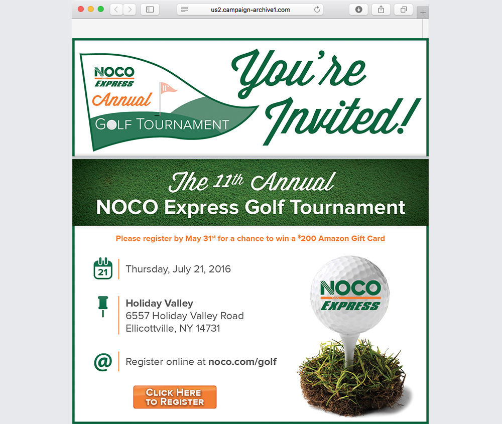 NOCO Golf Tournament Email