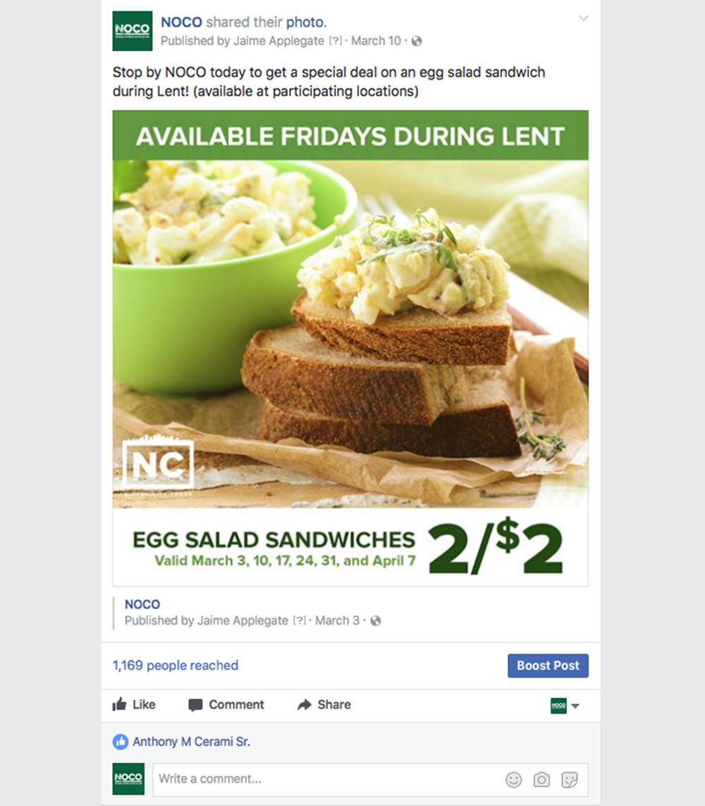 Lent Sandwich Deal Post