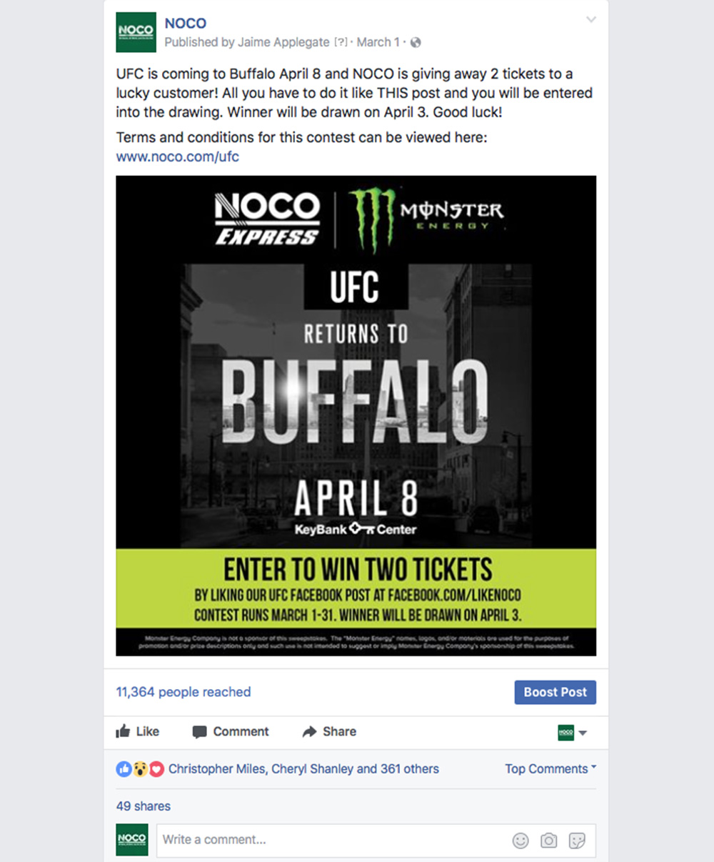 UFC Tickets Giveaway Post